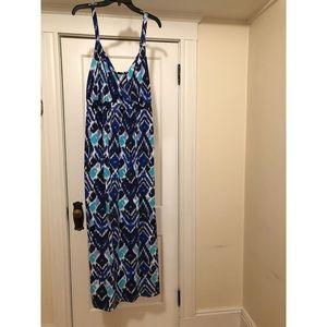 Blue Aztec Maxi-Dress